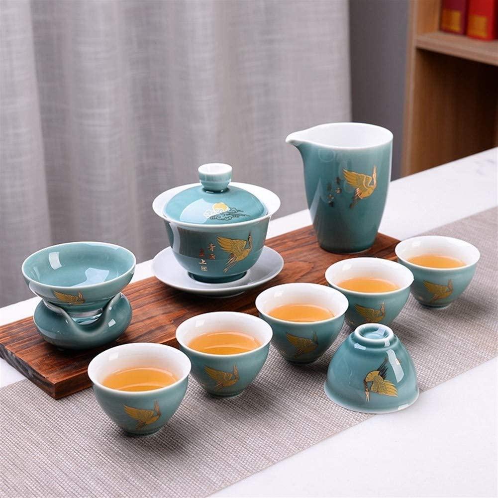 QinMei Zhou Blue Tea Set Kung Fu Ji new creative business promotional gift anniversary grade ceramic tea set (Color : Qingyun Straight (Bean Green))