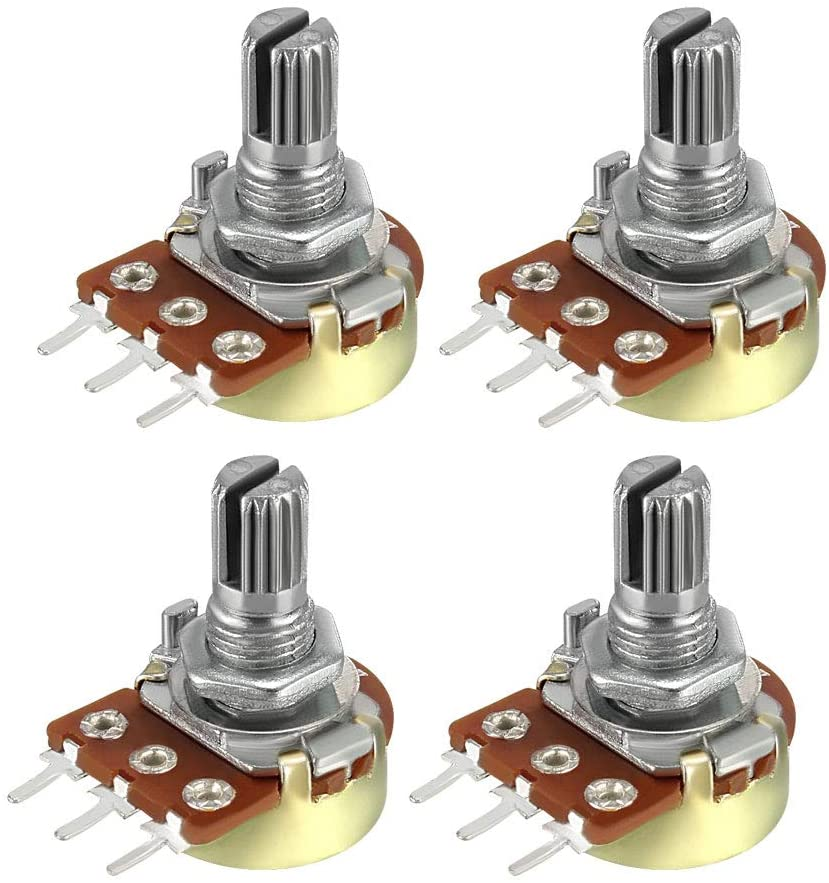 uxcell WH148 20K Ohm Variable Resistors Single Turn Rotary Carbon Film Taper Potentiometer 4pcs