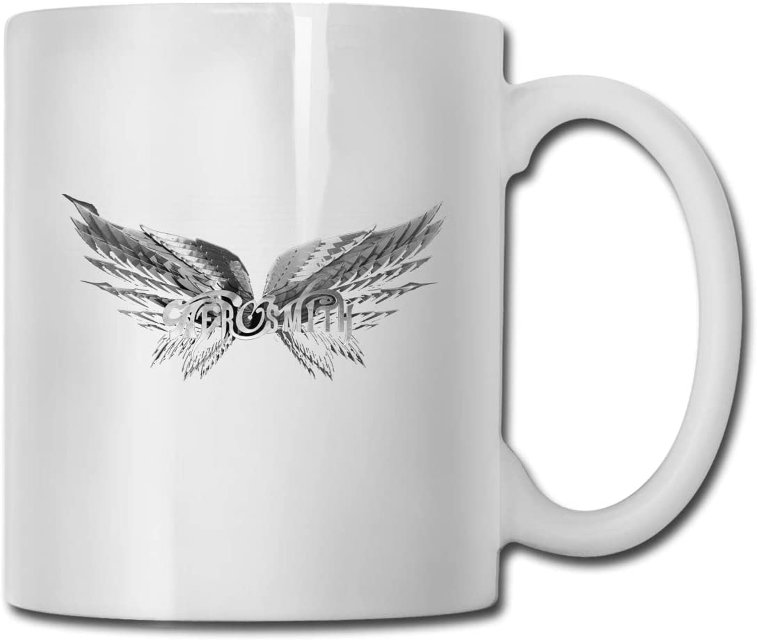 Aerosmith White Ceramic Coffee Cup with C-Shaped Handle