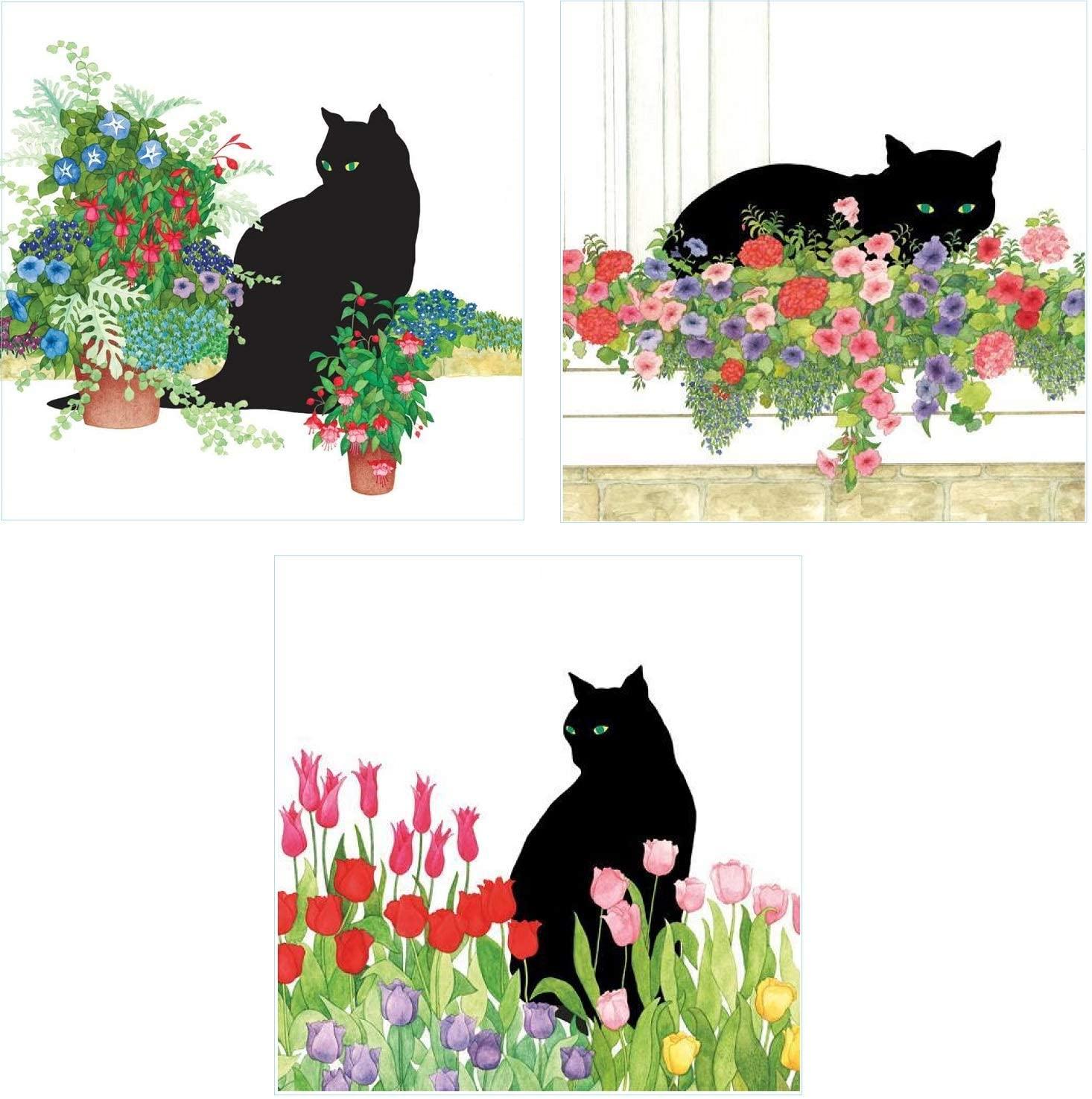 Bundle of 3 (20 ct) Black Cat Flower Garden Paper Luncheon Napkins