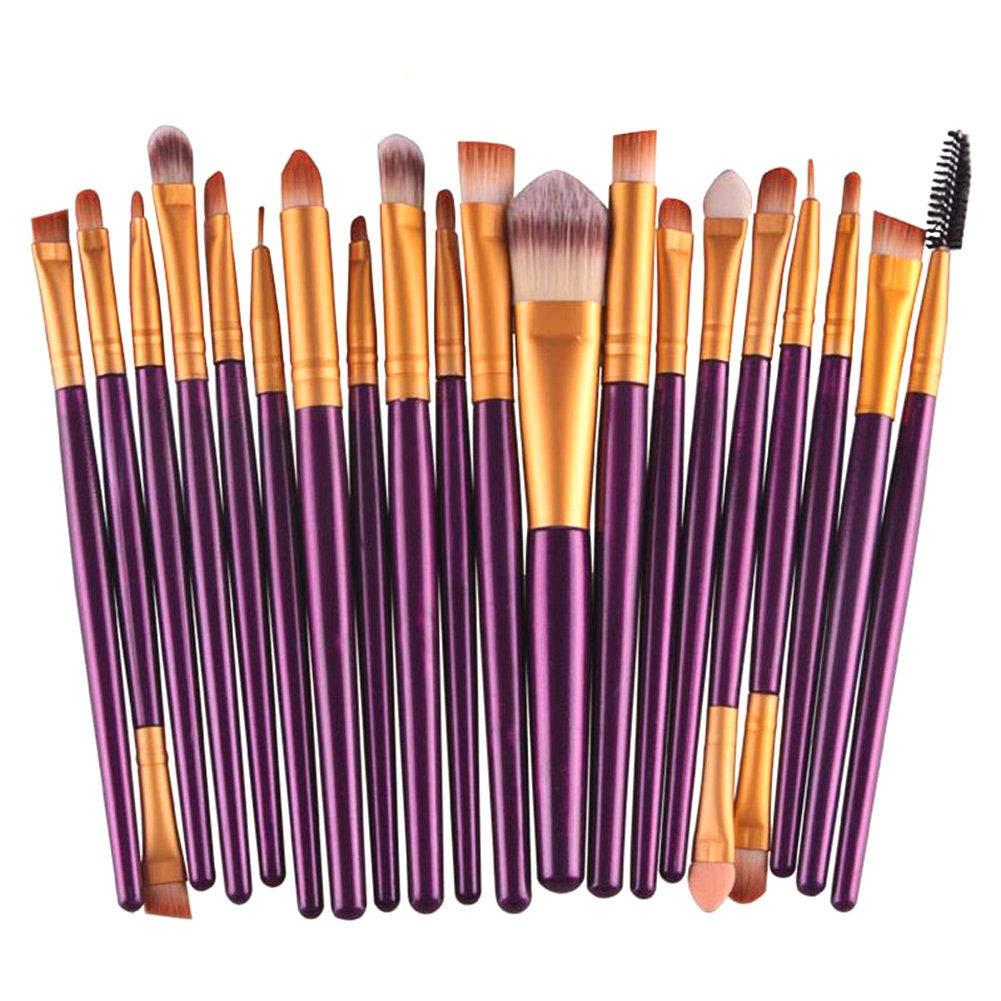 NICEMOVIC 20 Pcs Makeup Brush Set, Powder Foundation Eyeshadow Eyeliner Lip Cosmetic Brushes Make-up Toiletry Kit (Purple & Gold) Ideal for Pro & Daily Use