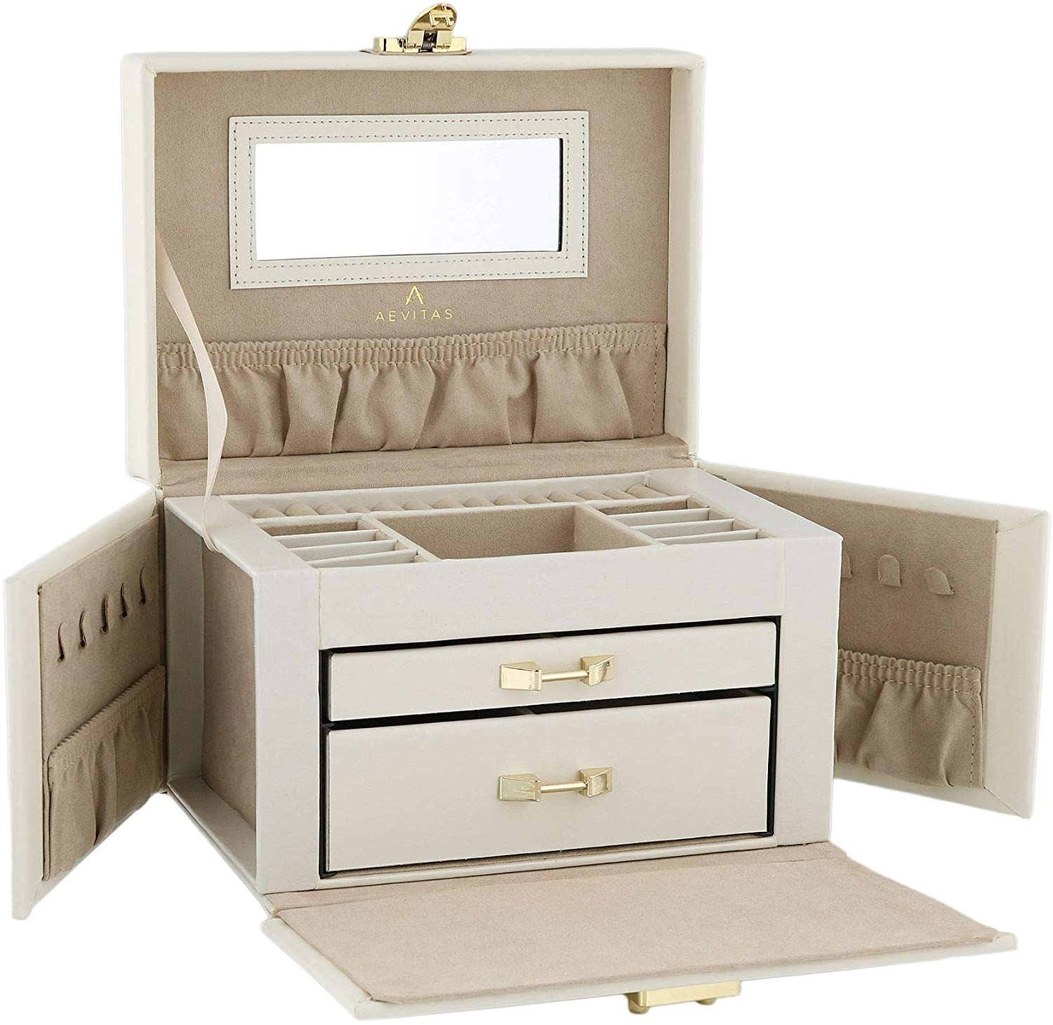 Aevitas Beautiful Quality Large Ivory Bonded Leather Jewelry Box with Traveler