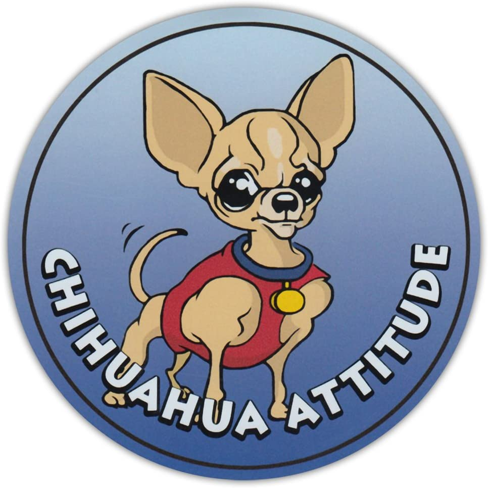 Round Dog Breed Car Magnet - Chihuahua Attitude - Magnetic Bumper Sticker