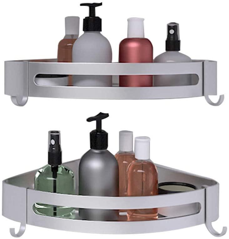 Bathroom Corner Shelf Wall Mounted,Heavy Duty Aluminum Kitchen Wall Storage Organizer,Bath Corner Shower Shelves with Removable Hooks