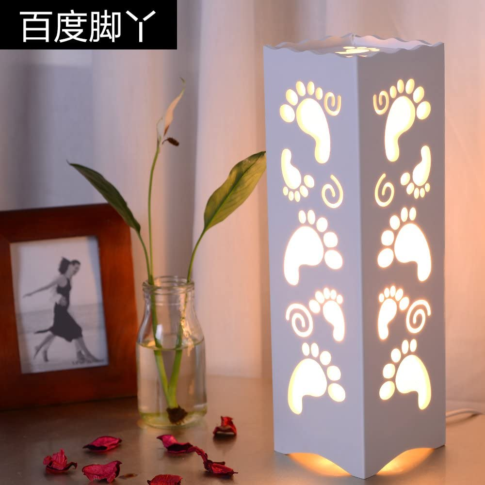 Simple Led European Study Living Room Bedroom Bedside Lamp Carved Fashion Creative Decoration Energy-Saving Lamps Dimmable,C Push Button Switch