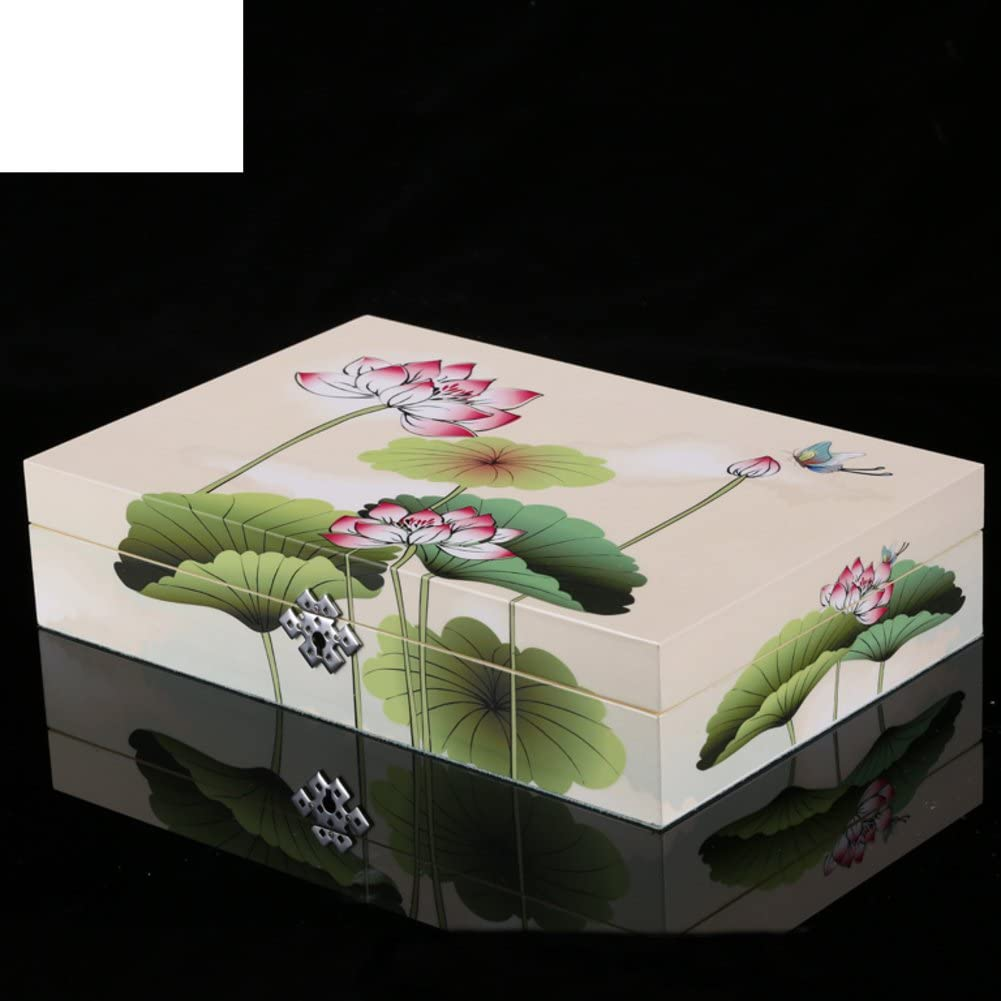 WODESHIJIE Chinese White Piano Jewelry Box/Painting The Lotus Vintage Jewelry Box/Vanity/Cosmetic Box/Table/Jewel Box
