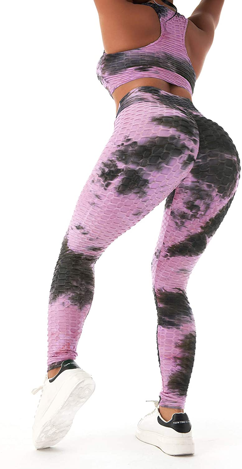 Womens Tie-Dye Workout Sets 2PC Scrunch Butt Lifting Printed Yoga Leggings with Sports Bra Gym Clothes