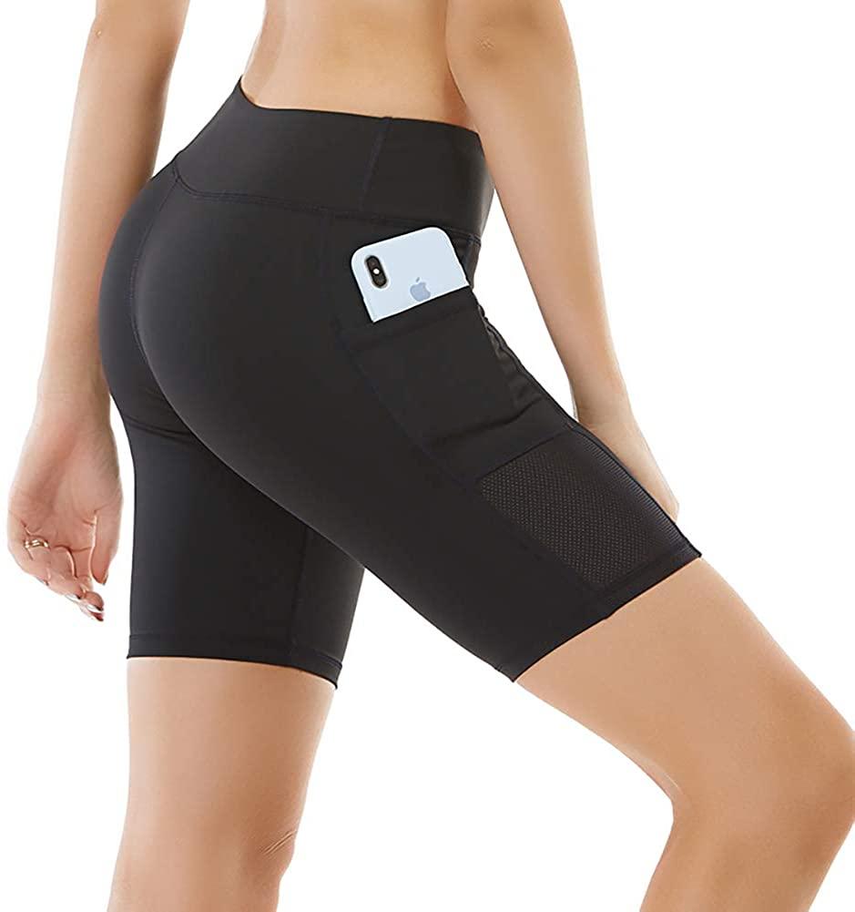 Boey Frek Women's Compression Shorts High Waist Workout Athletic Yoga Exercise Biker Gym Spandex Short with Side Pockets