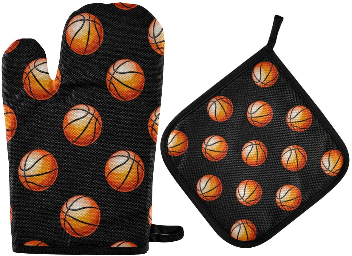 DOMIKING Oven Mitts Pot Holders Sets - Basketball Cooking Gloves Heat Resistant Hot Pads Non-Slip Potholders for Kitchen BBQ Cooking