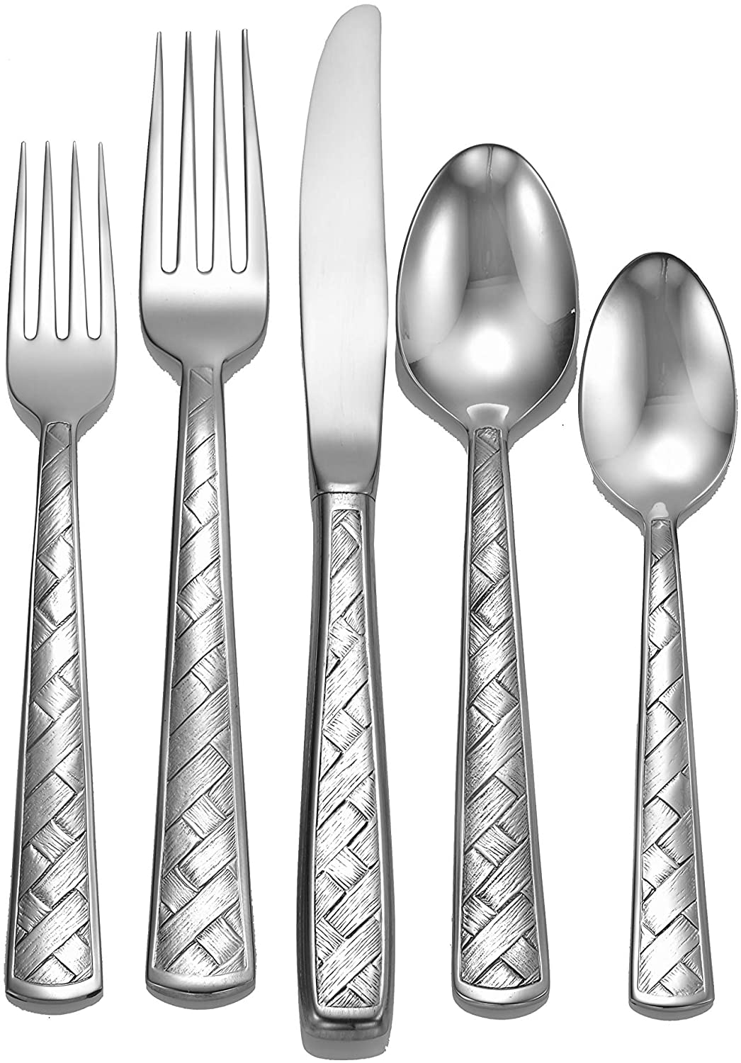 Liberty Tabletop Weave 65-piece 18/10 Flatware Set Service for 12, Includes Serving Pieces Made in USA