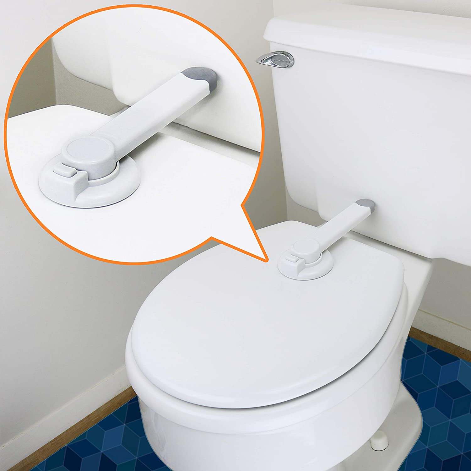 Toilet Lock Child Safety - Ideal Baby Proof Toilet Seat Lock with 3M Adhesive | Easy Installation, No Tools Needed | Fits Most Toilet Seats - White (1 Pack)