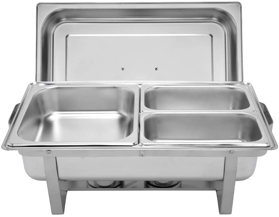 9L 1 three plate 1 1/2 2 1/4 stainless steel rectangular buffet stove rectangular hot pot with sturdy frame and safe design