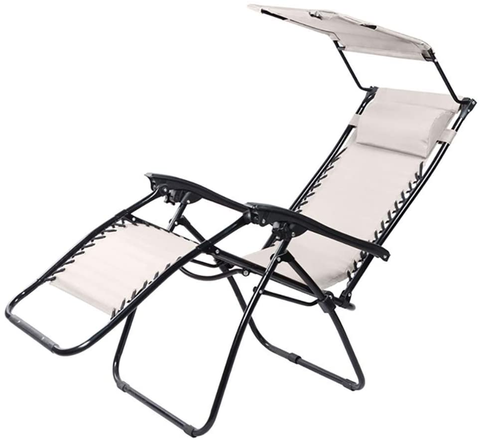 GWW Reclining Patio Chairs Folding Zero Gravity Recliner Lounge Chair, Sun Lounger Deck Chairs, with Adjustable Canopy Shade, Cup Holder Accessory Tray, Headrest Pillow
