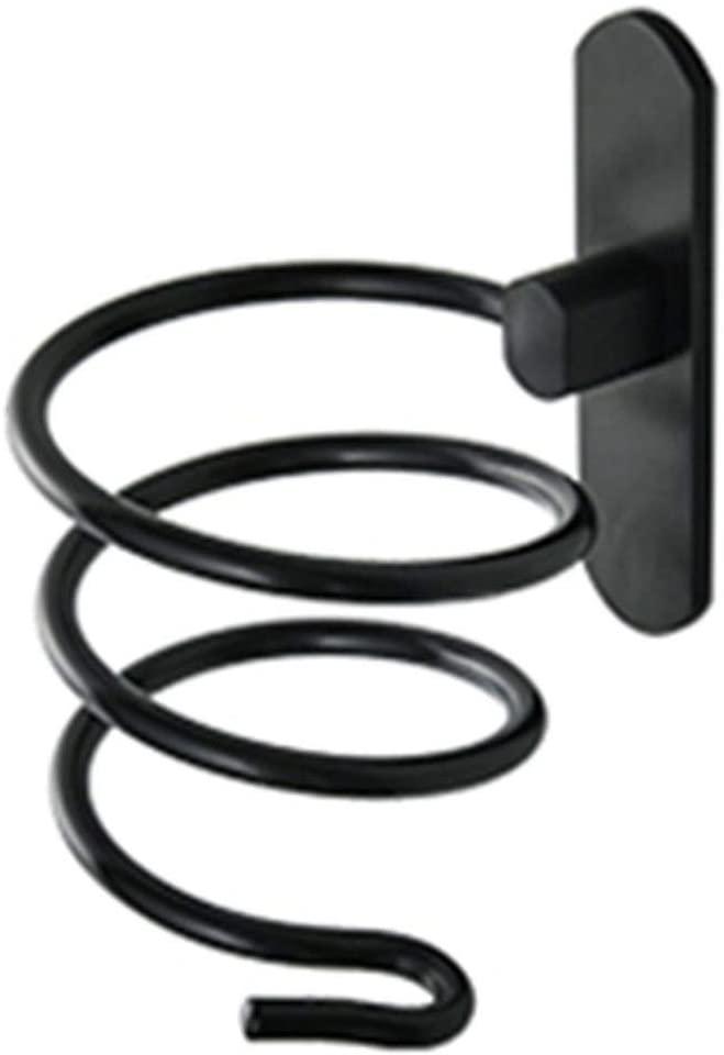 Mr. Bathroom Bathroom Shelf Shower Organiser Wall-Mounted Space Aluminum Punch Free Hair Dryer Rack Detachable Barrel Plug Hole, Black (Color : B)