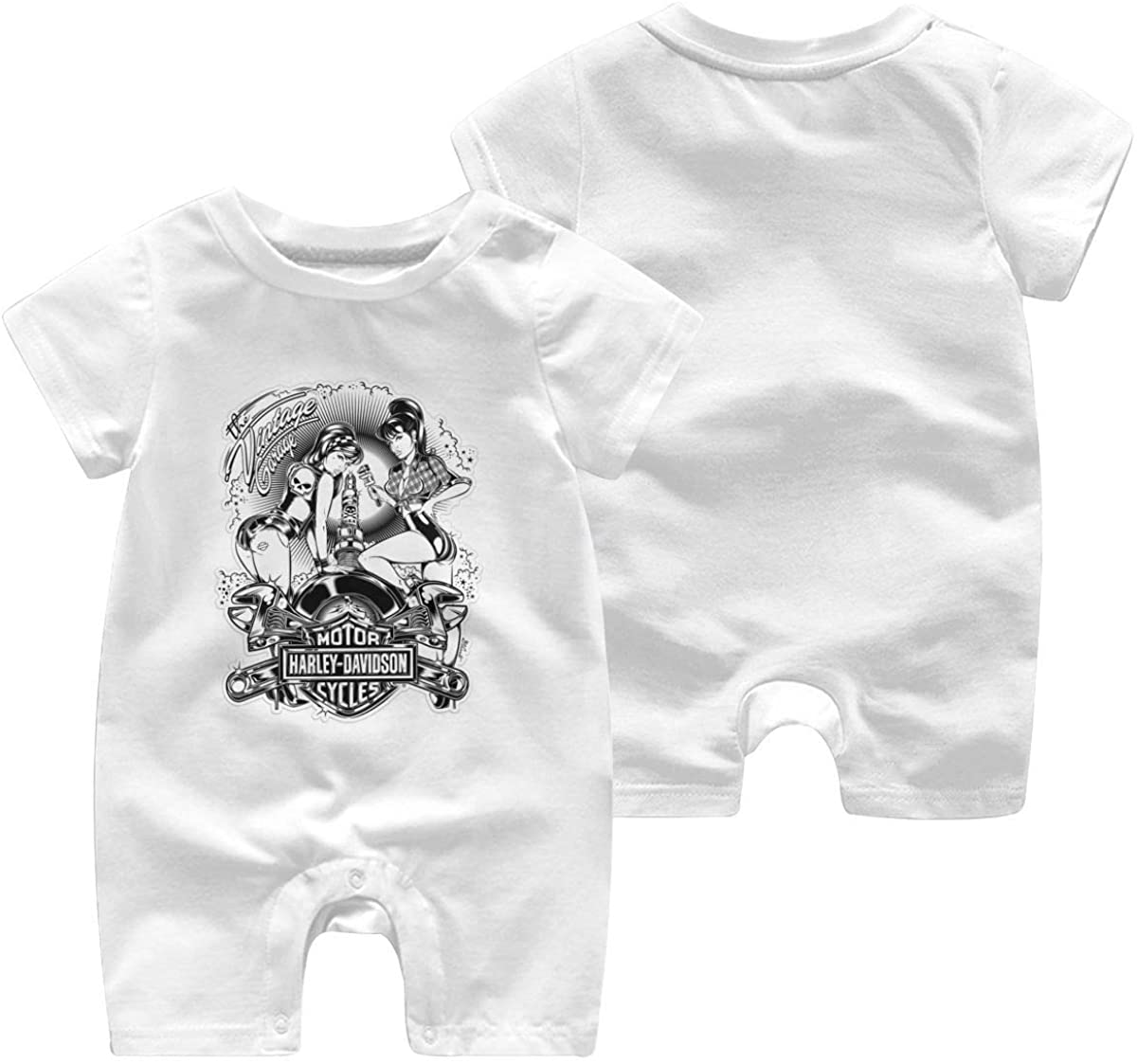 Harley Davidson One Piece Outfits Baby Solid Color Rompers with Button Kids Short Sleeve Playsuit Jumpsuits Cotton Clothing 18 Months White