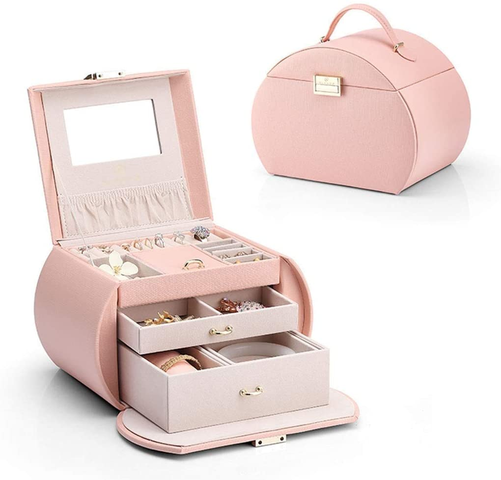 Large Capacity Hand Jewelry Storage Box Jewelry Box Two-Tier Storage Box Cosmetic Case with Mirror Gift (Size : 17 X 23 X 16cm) (Color : C)