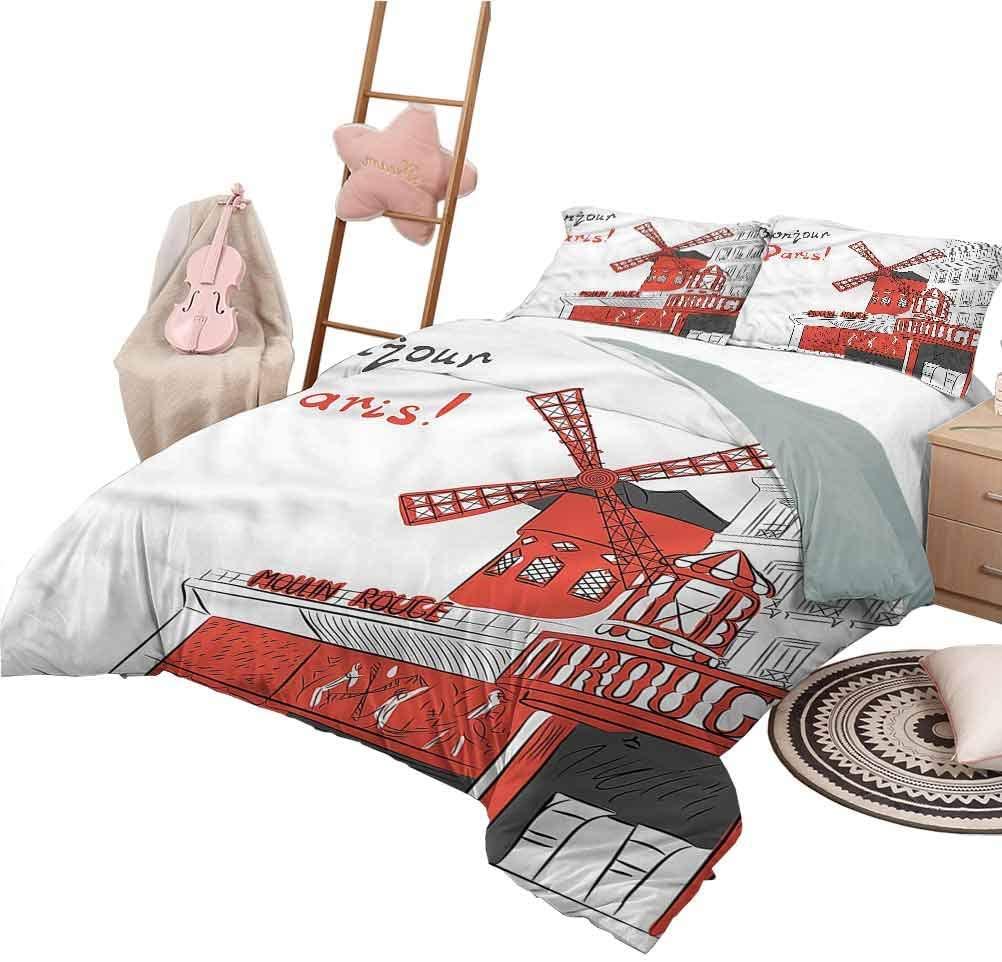 Nomorer Duvet Cover Pattern Twin Size Paris Bedspread Bed Cover for All Season Urban Sketchy Landscape