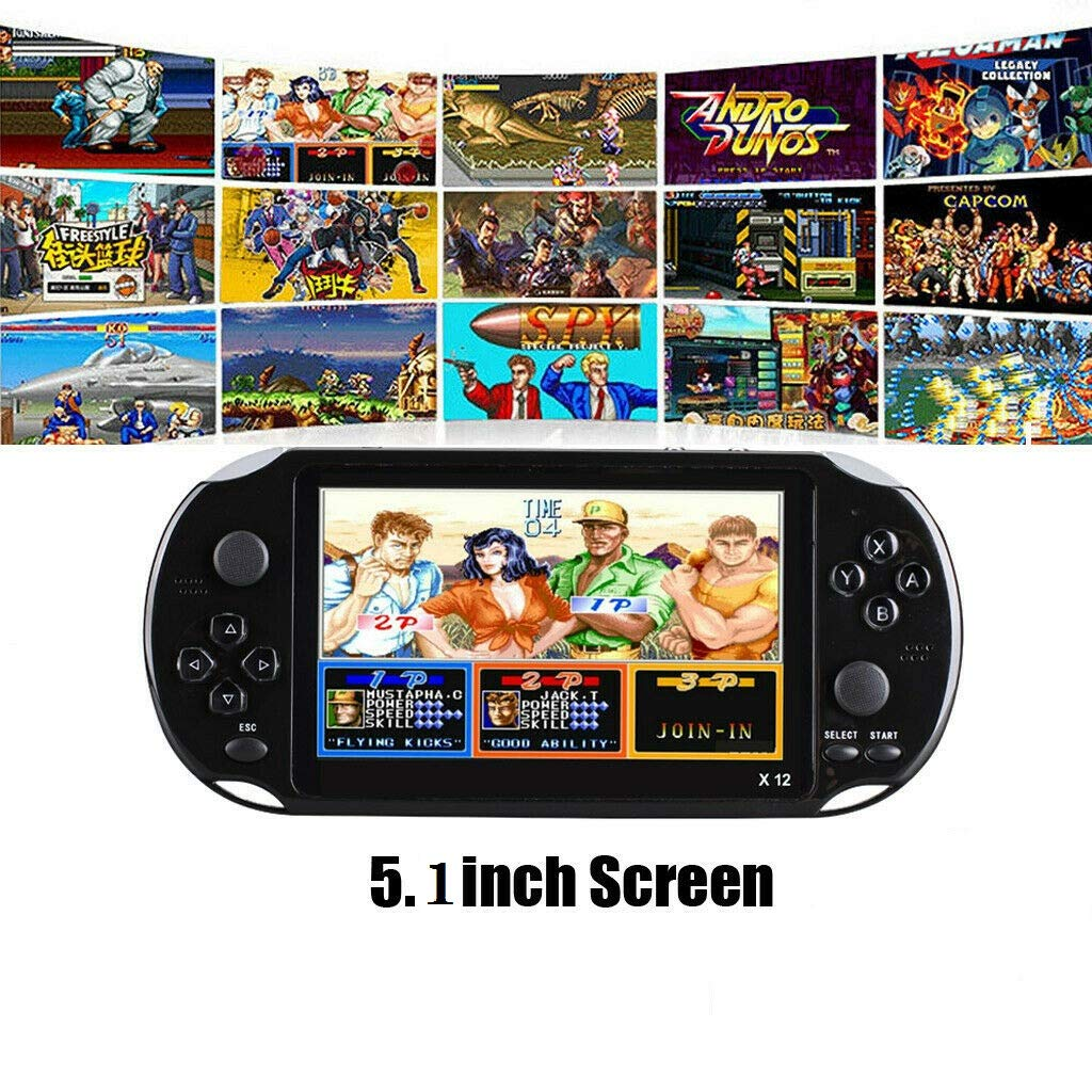 OMKARSY Video Game Consoles w/Double Rocker Built-in 2500 Games,5.1 Inch Handheld Game Player 8G SupportGBA/GBC/SEGA/NES/SFC/NEOGEO (black)