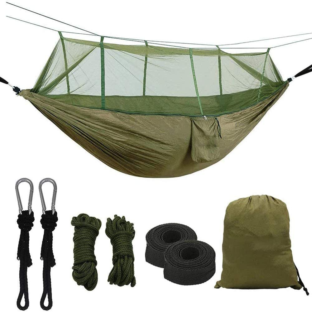 JYLT Camping Hammock with Mosquito Net,Double Persons Iqammocking Bed Tent Portable Cot for Relaxation,Traveling,Outside Leisure
