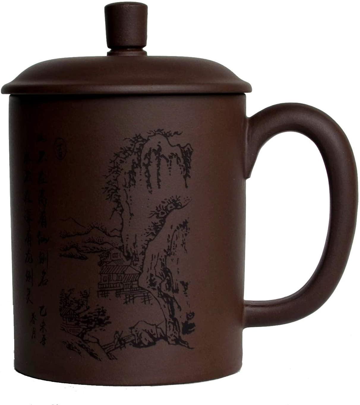 Zisha Teacups 500ml Chinese Yixing Purple Clay Tea Cups Handle Lip Coffe Tea Mugs Landscapes Home Office