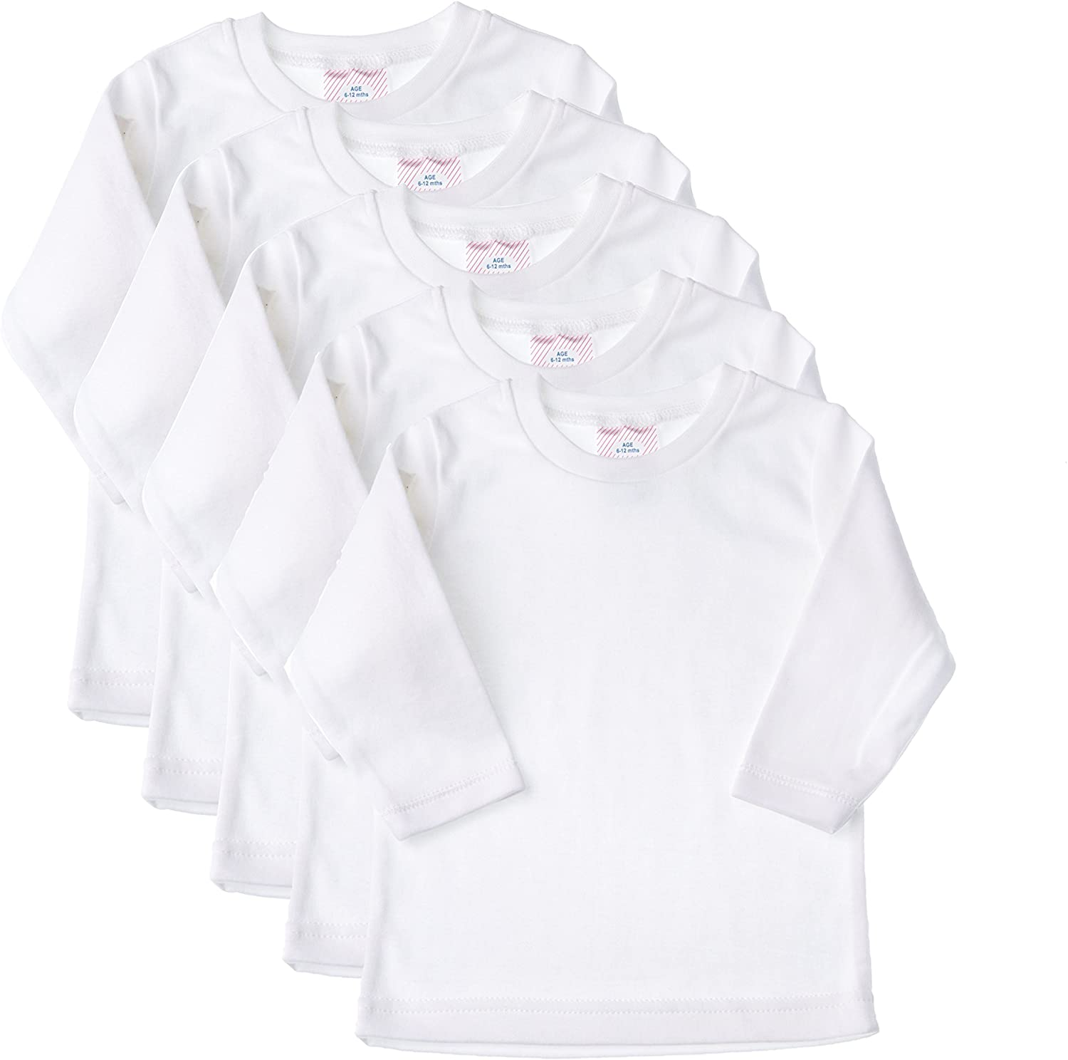Baby Jay Long Sleeved Undershirt 5 Pack - White Unisex Baby and Toddler Soft Cotton Tee - Boys and Girls T Shirt
