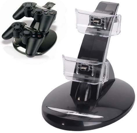 Dual Charger Station Charging Stand for Sony PS3 Wireless Controller - Black