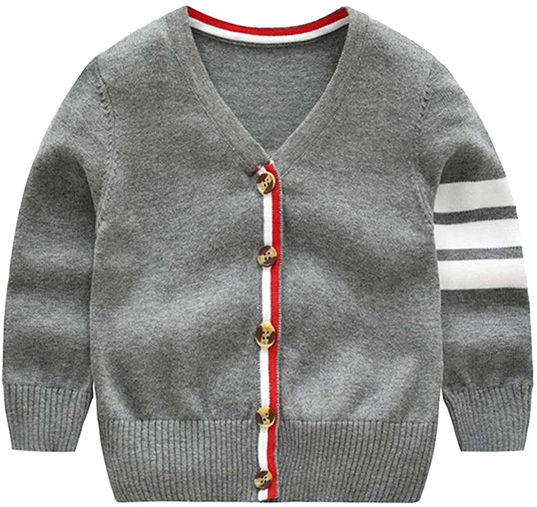 La vogue Baby Boys V Neck Long Sleeve Striped Cardigans Gentleman Style Cotton Knit Button Up Sweater Knitwear