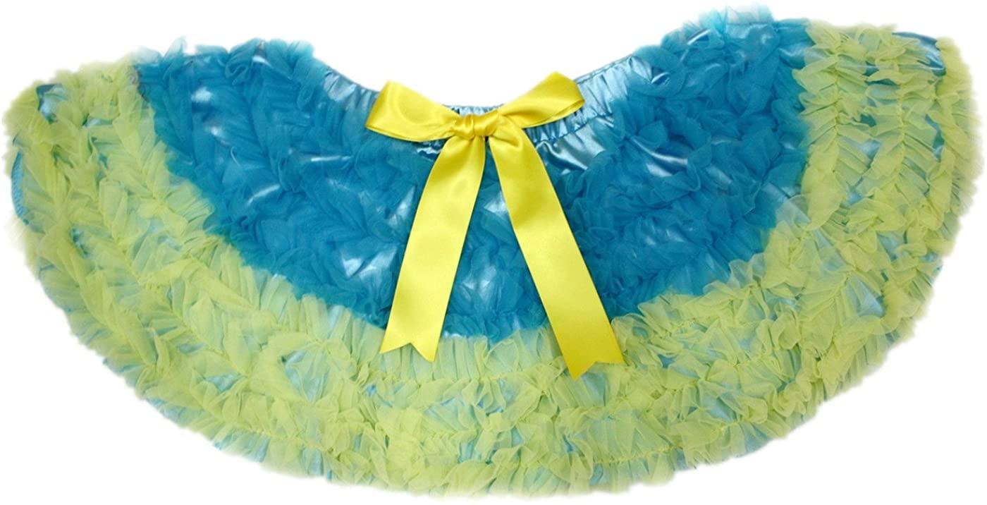 Ukraine Peacock Blue Yellow Ruffles Baby Girl Pettiskirt Tutu Nb-8y