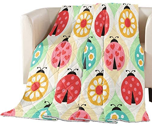 Fandim Fly Summer Bedspread Thin Comforter Colorful Ladybugs Pattern Insect Theme Playroom Kids Super Soft Lightweight All Season Bedding Quilt Throw Blanket 104