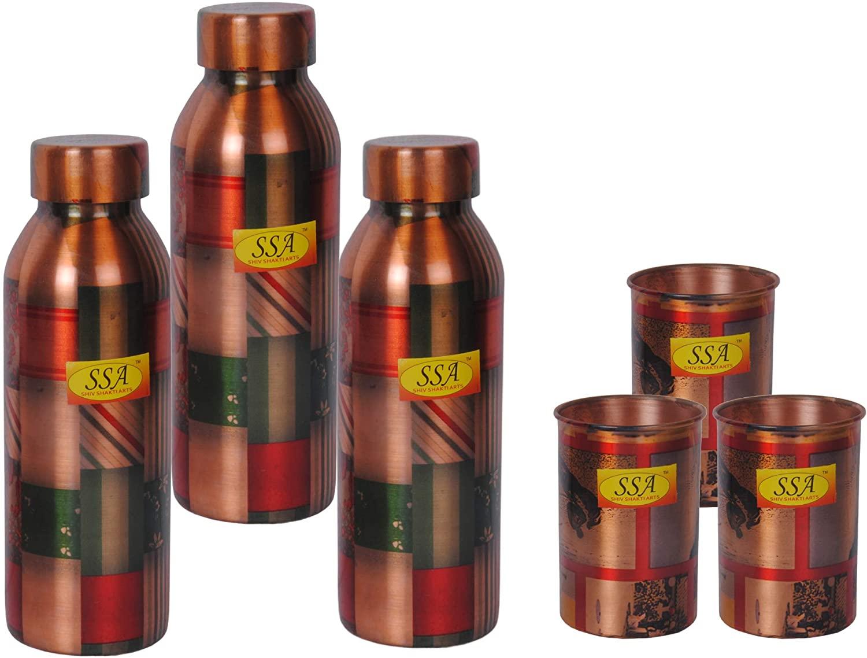 SHIV SHAKTI ARTS Handmade 3 Pure Copper Printed Multi Designer Water Bottle Capacity-750 ML & 3 Pure Copper Printed Tumbler Design CU Glass Volume 350 ML::Set Of 6