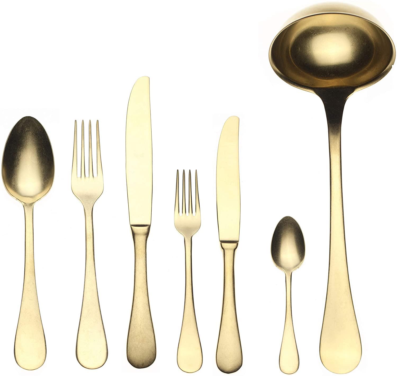 Mepra Vintage Oro 1097VI22039 39 Pcs Serving Set – Metallic Tableware, Dishwasher Safe Cutlery
