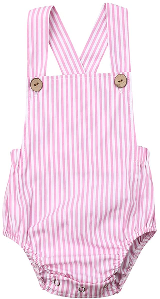 N /A Infant Baby Girls Boys Romper Bodysuit One-Piece Sleeveless Backless Jumpsuit Sunsuit Overalls Summer Clothes (Pink, 80cm)