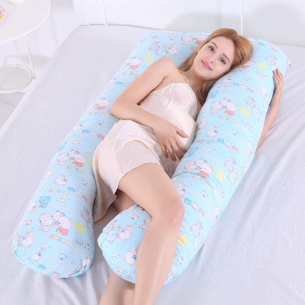 Dianzicar Pregnancy Pillow Full Body U Shaped Support Back/Neck/Head for Maternity or Nursing Women with 100% Cotton Best Pregnant Mom Gift,4,116x60cm