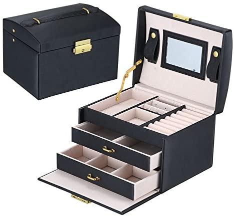 Yunan Leather Jewelry Box Storage Organizer Drawer Three-Layer lint Travel Case Lock Makeup Mirror