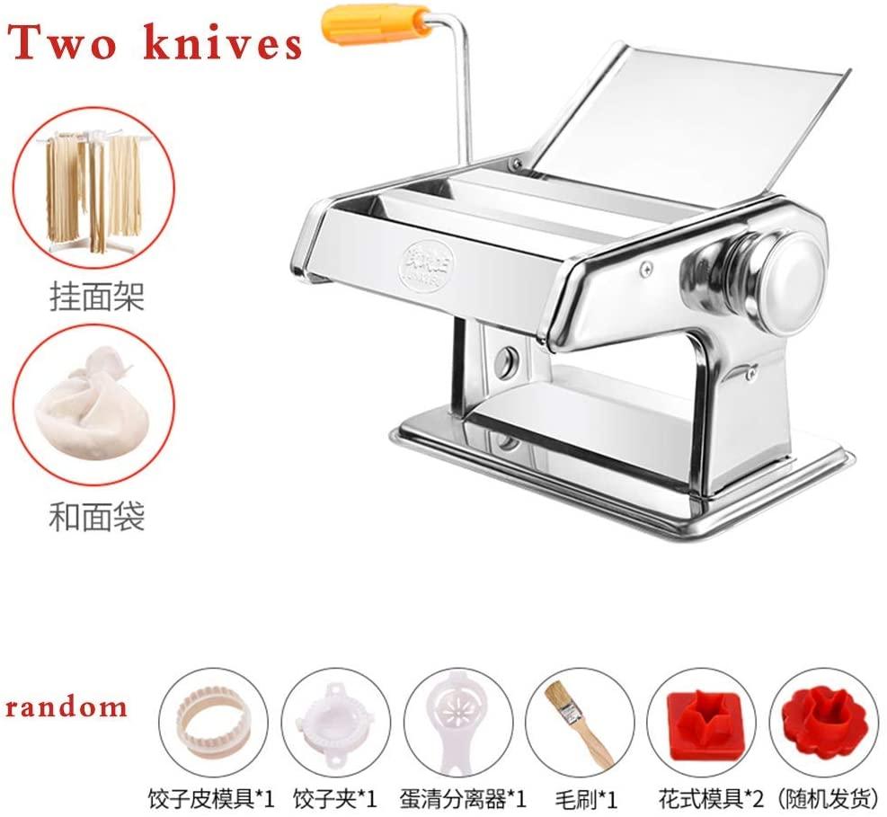 Pressing machine home pasta machine, multi-function manual stainless Ganmian machine, dumpling machine wonton,Free flour bag and noodle rack