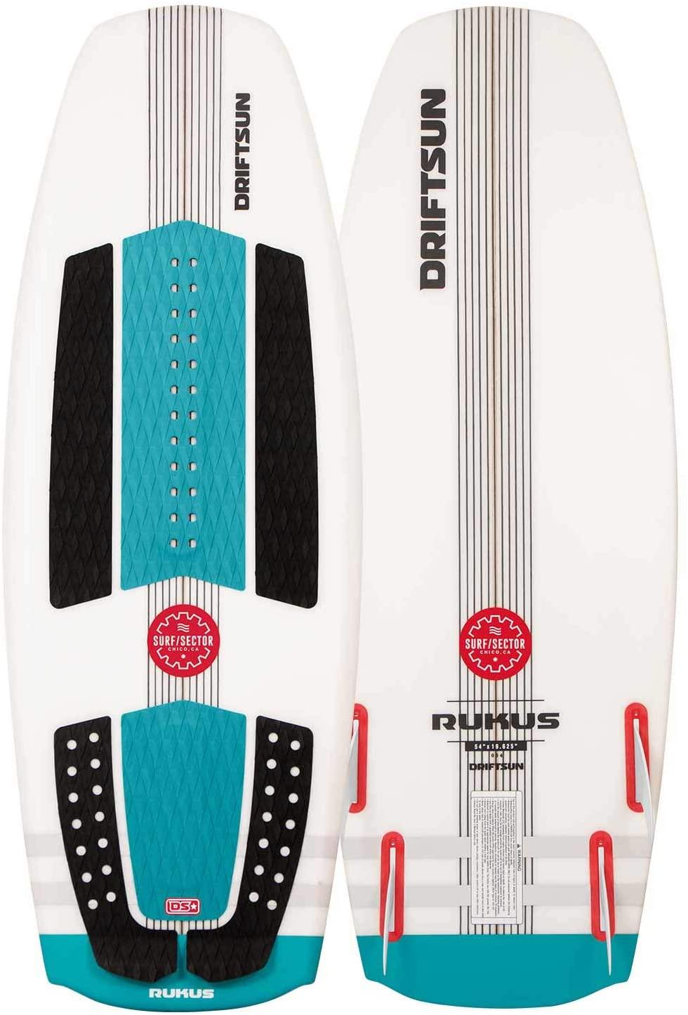 Driftsun Rukus Wakesurf Board - 4ft x 6in Surf Style Wakesurf Board for Intermediate to Advanced Riders, Fin Set Included