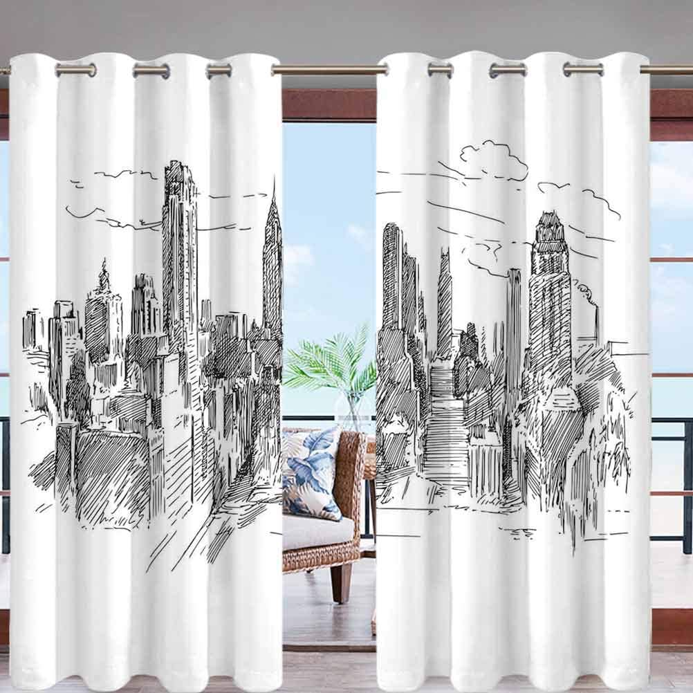 Grommet Top Curtain Panel Pair Blackout Drapes Hand Drawn NYC Cityscape Tourism W108 x L96 for Front Porch Lawn Corridor Patio Door