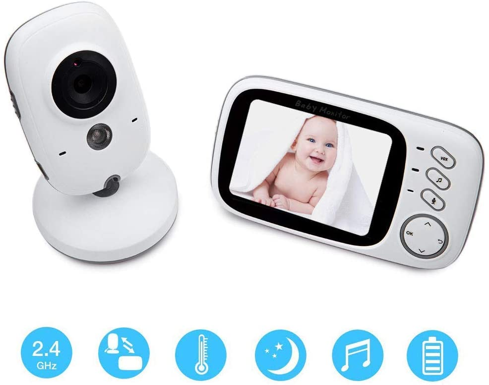 FACAIA Baby Monitor Camera Hd Wireless LCD Screen WiFi Video Temperature Monitoring and with Baby Lullaby Support Music Playback to Help Baby Fall Asleep Parents Life is Flexible