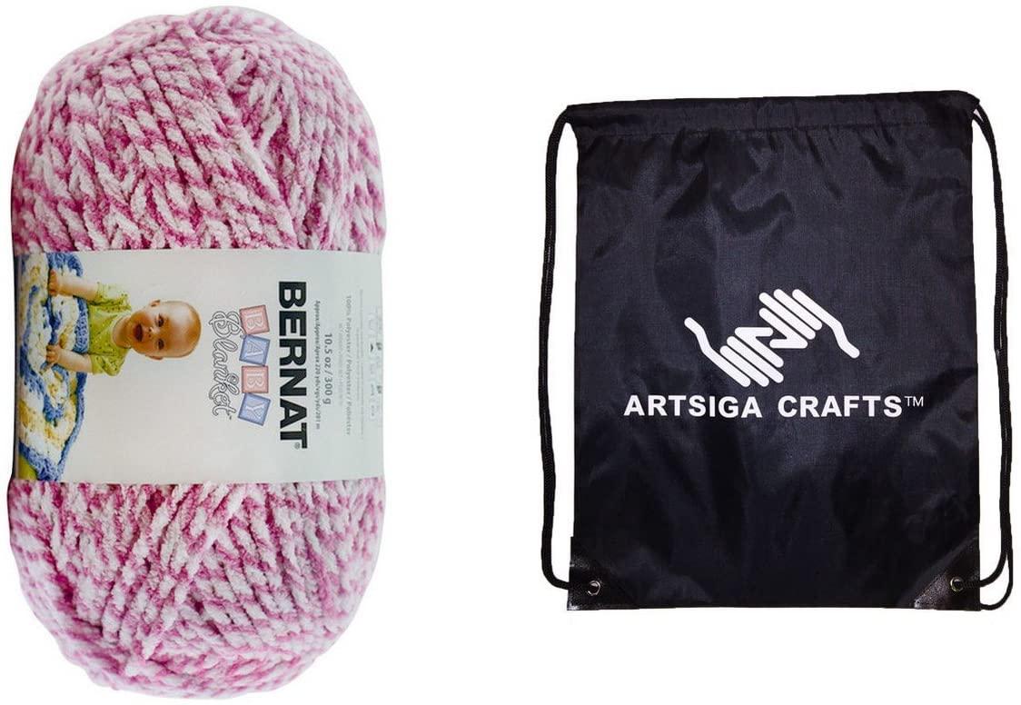 Bernat Knitting Yarn Baby Blanket Twists Big Ball Pink Twist 1-Skein Factory Pack 161210-10001 Bundle with 1 Artsiga Crafts Project Bag