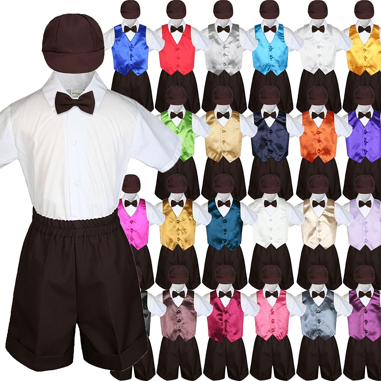 Baby Kid Toddler Boy Formal Party Suit BROWN Shorts Shirt Hat Vest set Sm-4T (Large ( 12-18 Months ), Orange)