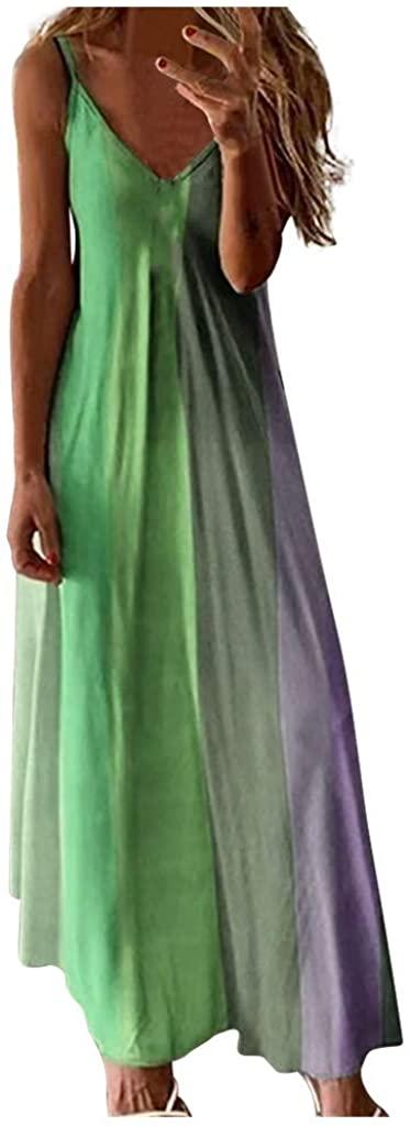 Fudule Womens Dresses Casual Summer Sundress Sleeveless Gradient Color Block Spaghetti Strap Long Maxi Tunic Tank Dress
