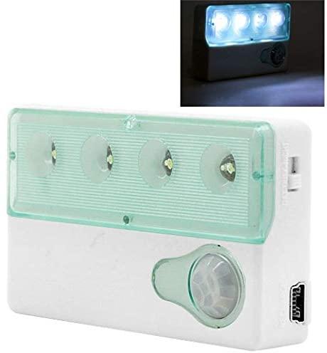YINZHI Smart Lighting Auto PIR Infrared Sensor Motion Detector Wireless Light Lamp, White Mini 4 LED USB Rechargeable