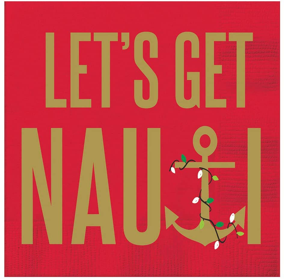 Funny Cocktail Napkins Christmas Paper Napkins Decorative Party Napkins w/Gold Lets Be Nauti Pk 40
