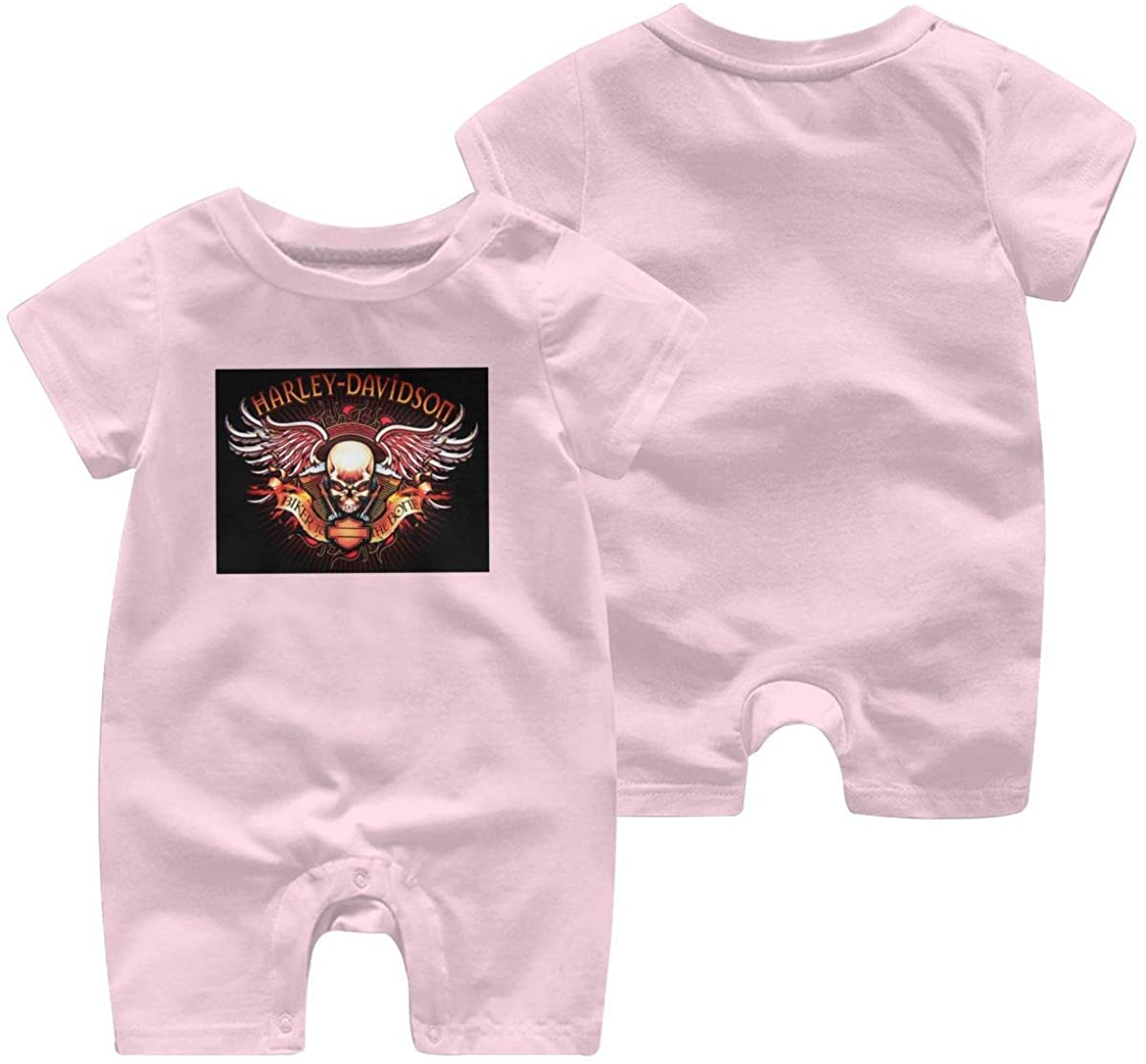 Harley Davidson One Piece Outfits Baby Solid Color Rompers with Button Kids Short Sleeve Playsuit Jumpsuits Cotton Clothing 6 Months Pink