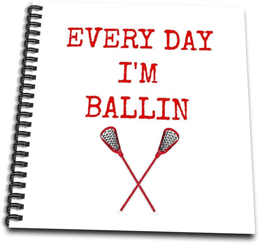 3dRose db_172356_2 Every Day I'm Ballin, Lacrosse Sticks Picture, Red Lettering-Memory Book, 12 by 12-Inch