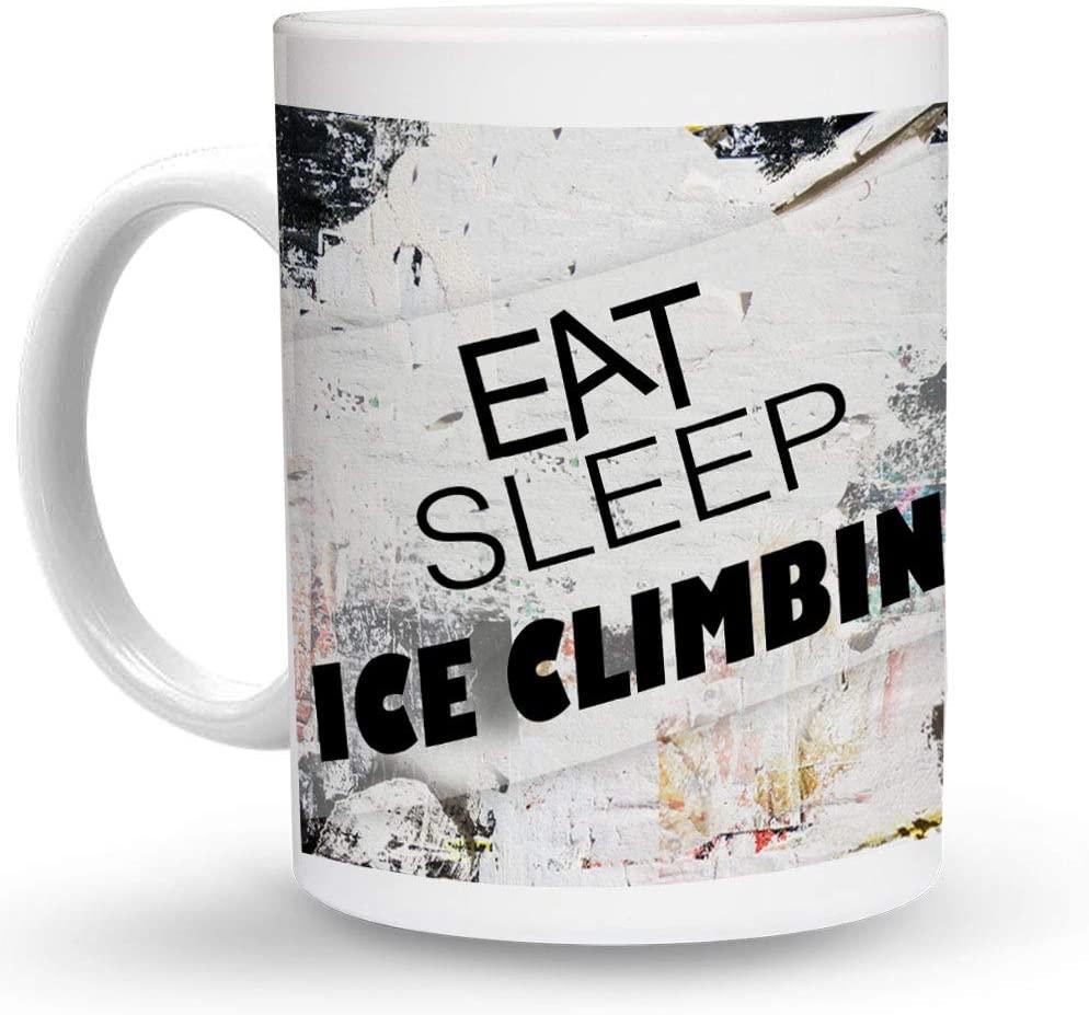 Makoroni - EAT SLEEP ICE CLIMBING Sport 6 oz Ceramic Espresso Shot Mug/Cup Design#58