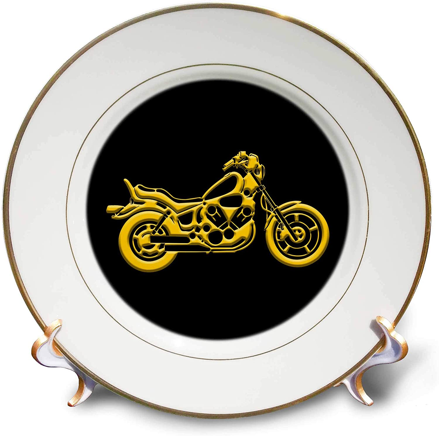 3dRose Alexis Design - Transport Motorcycles - Detailed Silhouette of a Motor Bike. Yellow on Black. Positive Gift - 8 inch Porcelain Plate (cp_324604_1)
