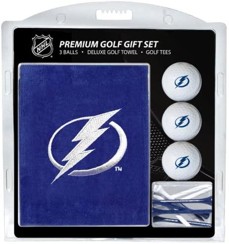 Team Golf NHL Tampa Bay Lightning Gift Set Embroidered Golf Towel, 3 Golf Balls, and 14 Golf Tees 2-3/4 Regulation, Tri-Fold Towel 16 x 22 & 100% Cotton