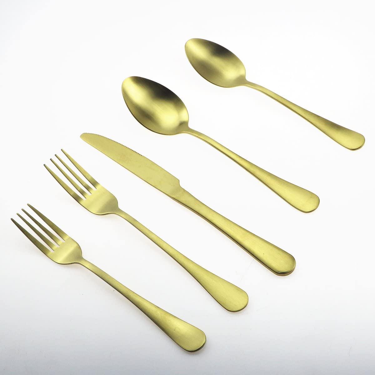 JANKNG 20-Piece 18/10 high-class Stainless Steel Flatware Set Matte Gold, Service for 4