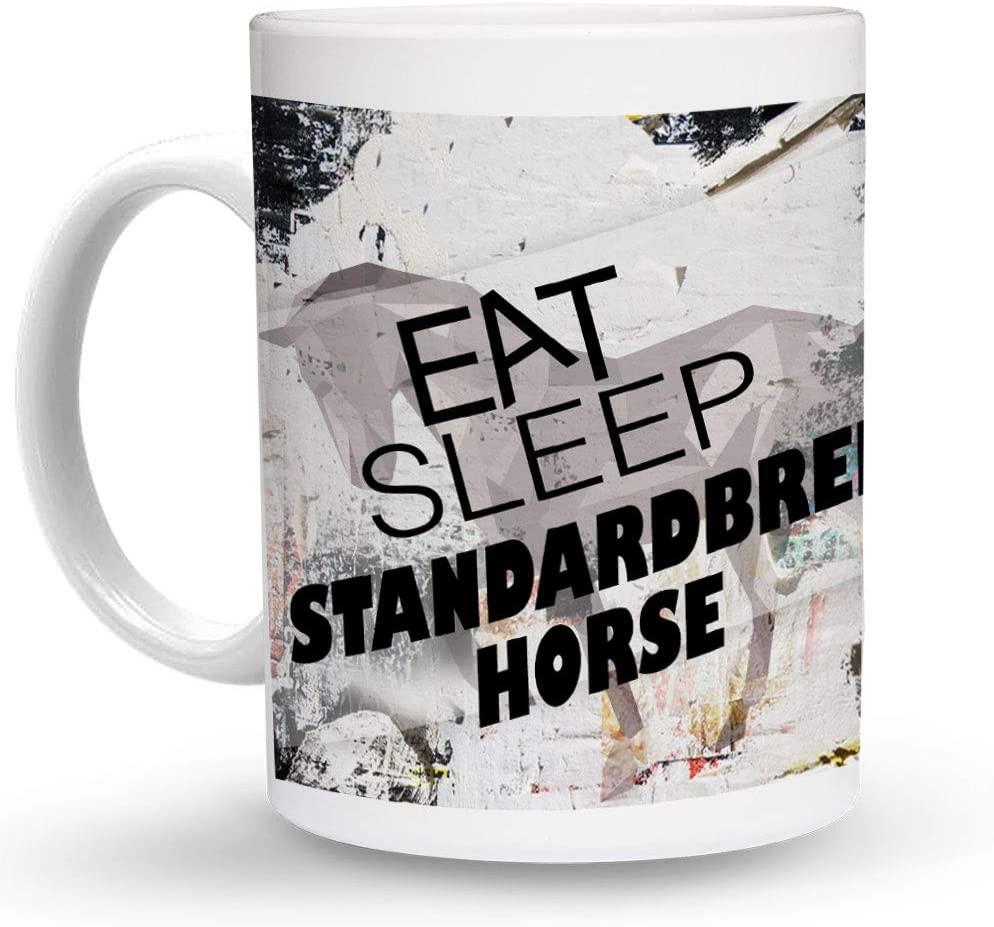 Makoroni - EAT SLEEP STANDARDBRED HORSE Horse 6 oz Ceramic Espresso Shot Mug/Cup Design#99